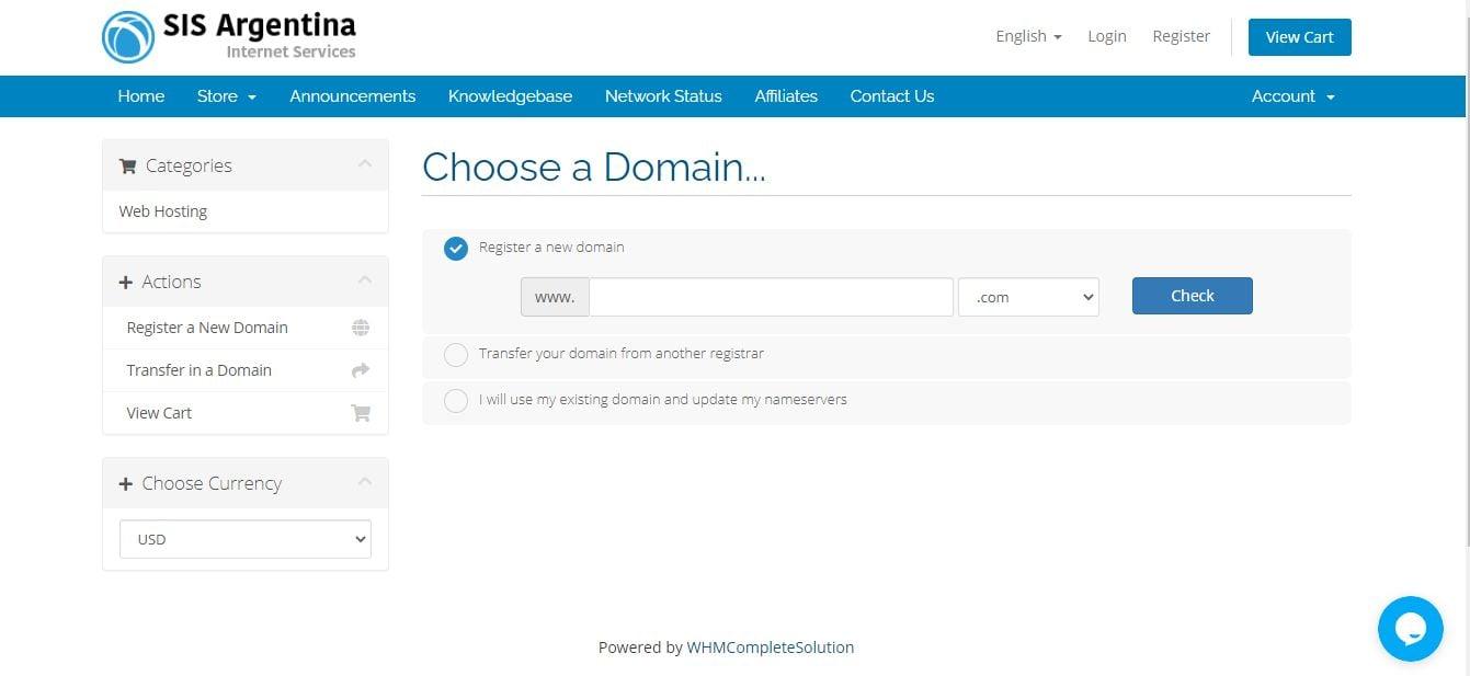 SIS Argentina choose domain