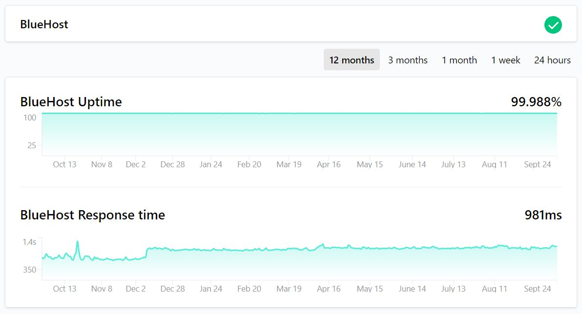 bluehost uptime 1 year