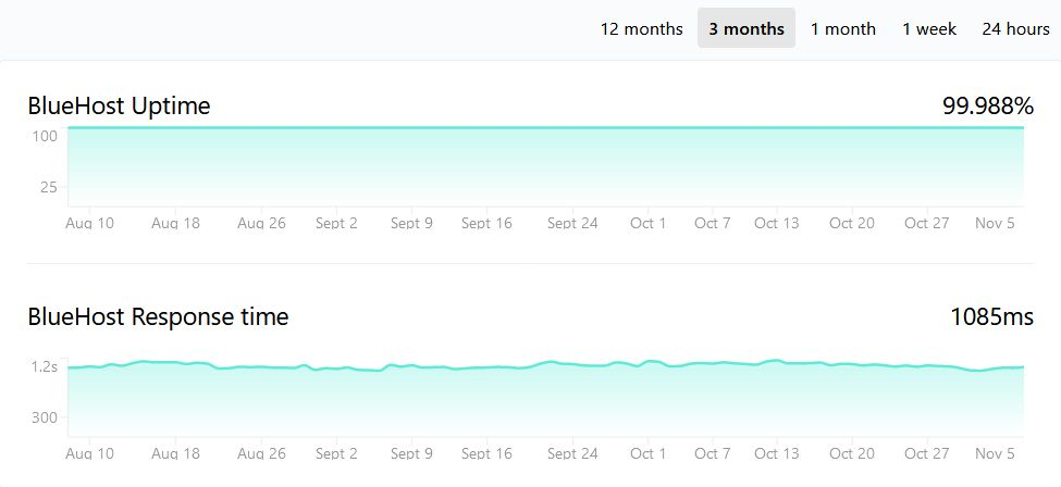 bluehost 1 year uptime