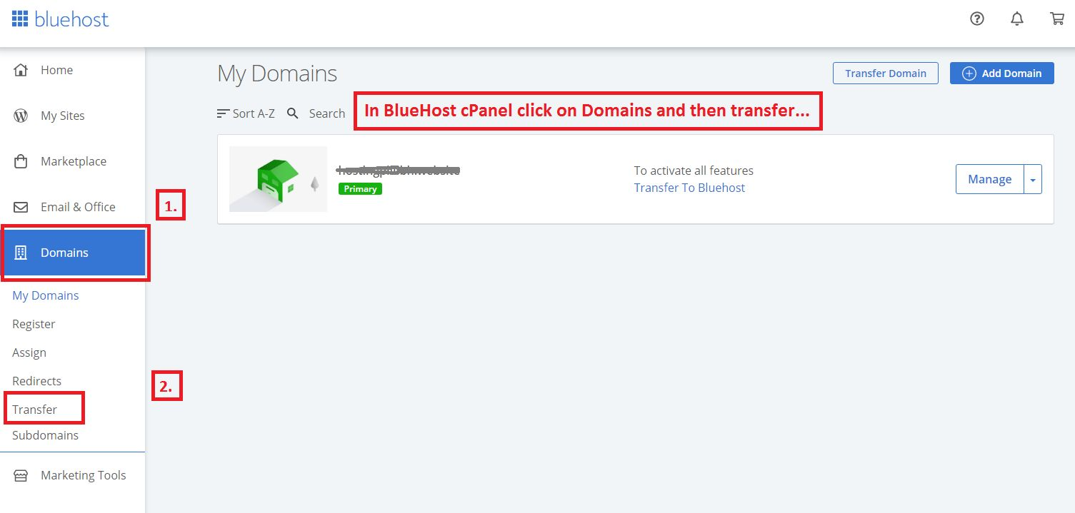BlueHost_cPanel_to_transfer_domain